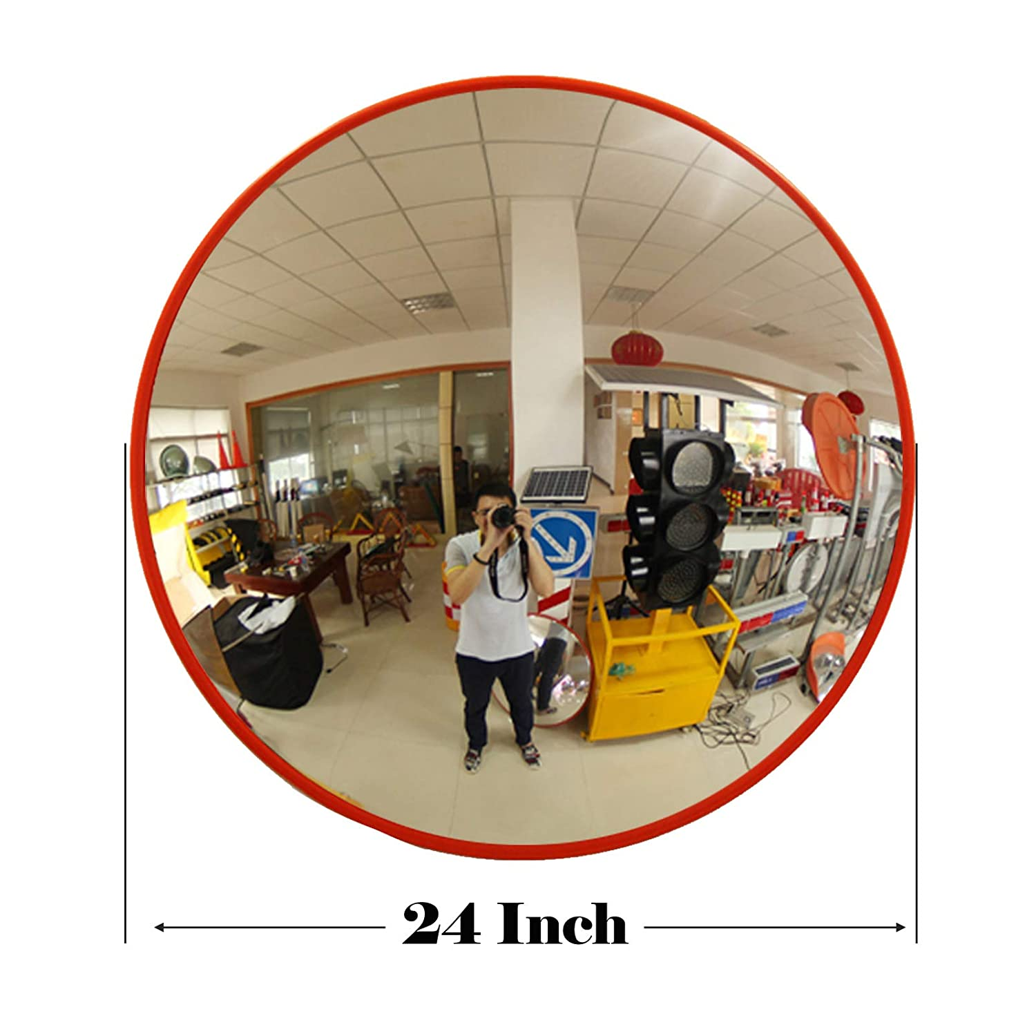 Home Driveway Convex Traffic Mirror 130 Degree Blind Spot Mirror Wide Angle Unbreakable Security Mirror For Road Safety,Garage Parking Alley Shop Security Hospital Car Park School 30CM