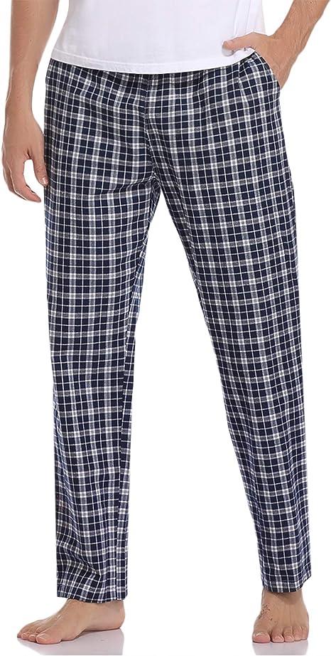 Aibrou Pantalon de Pijama Hombre Largos de Algodón Pantalones ...