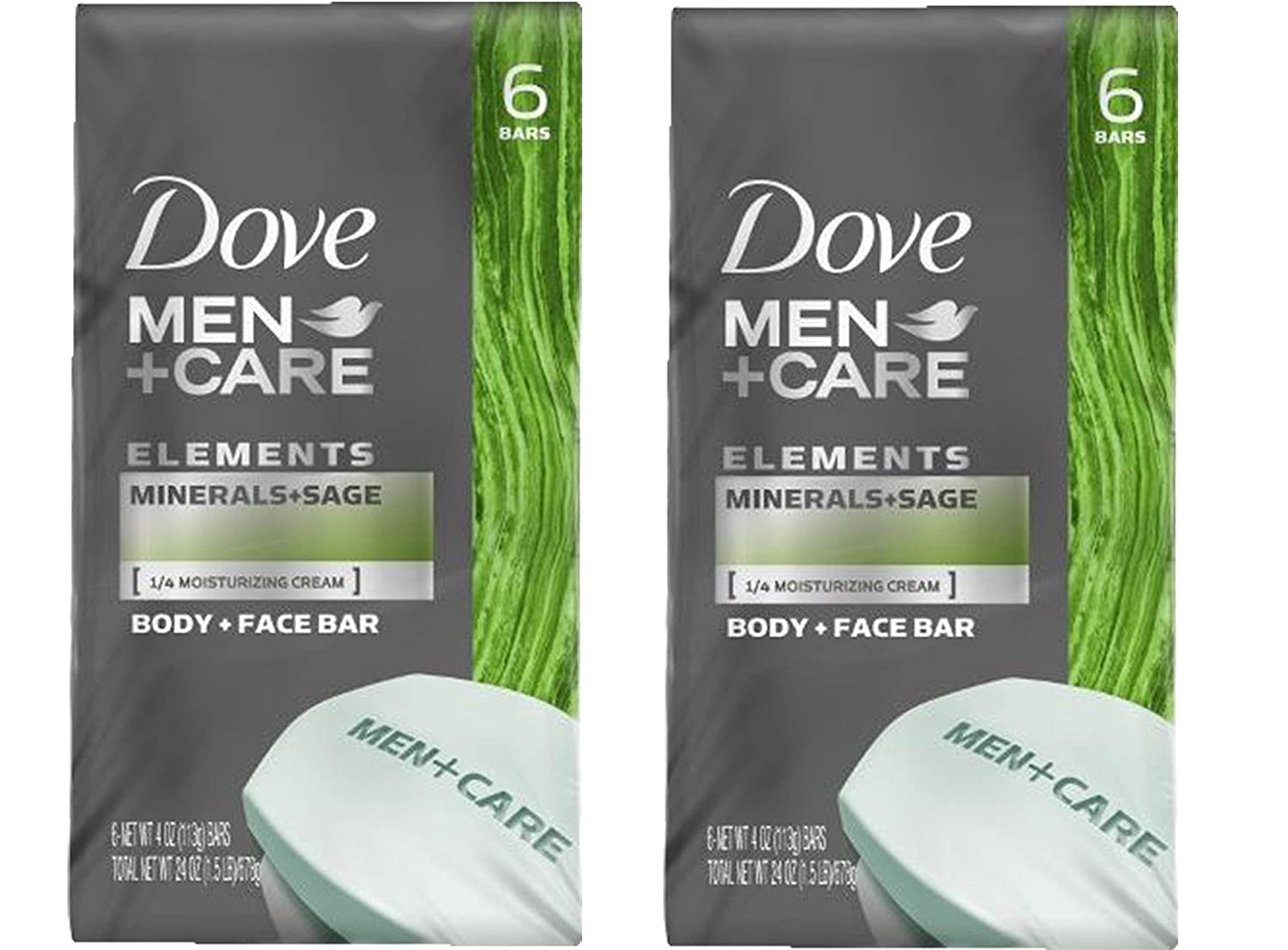 Dove Men+Care Body and Face Bar, Minerals + Sage 4 oz, 6 Bar (Pack of 2)