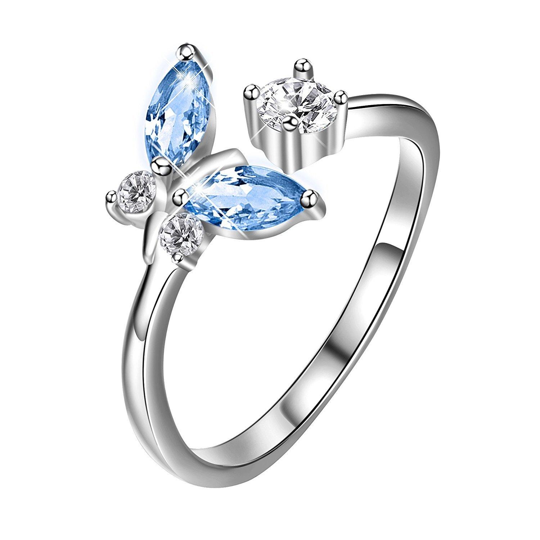 925 Sterling Silber Einstellbare Öffnen Schmetterling Ringe Schmuck Mädchen Geschenke AOBOCO PYJ0007-LA