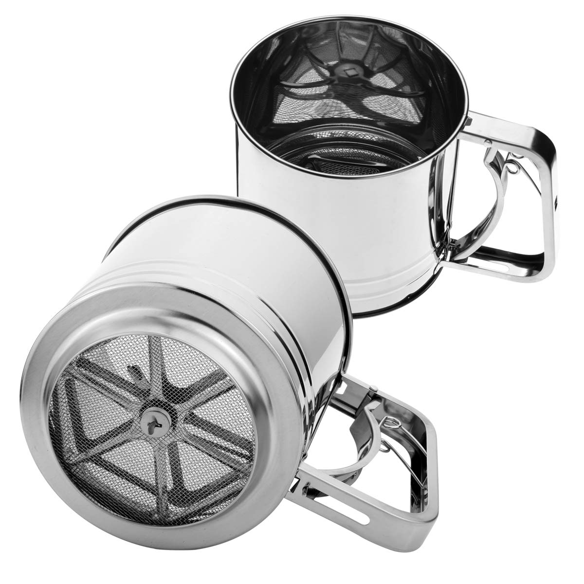 Stephenie Hand Squeeze Flour Sifter - Stainless Steel - 3 Cup Capacity by Szxc