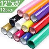 12 Roll Heat Transfer Vinyl 12 Inch by 5 Feet for T-Shirts, Iron on HTV Compatible with Cricut, Cameo, Heat Press…