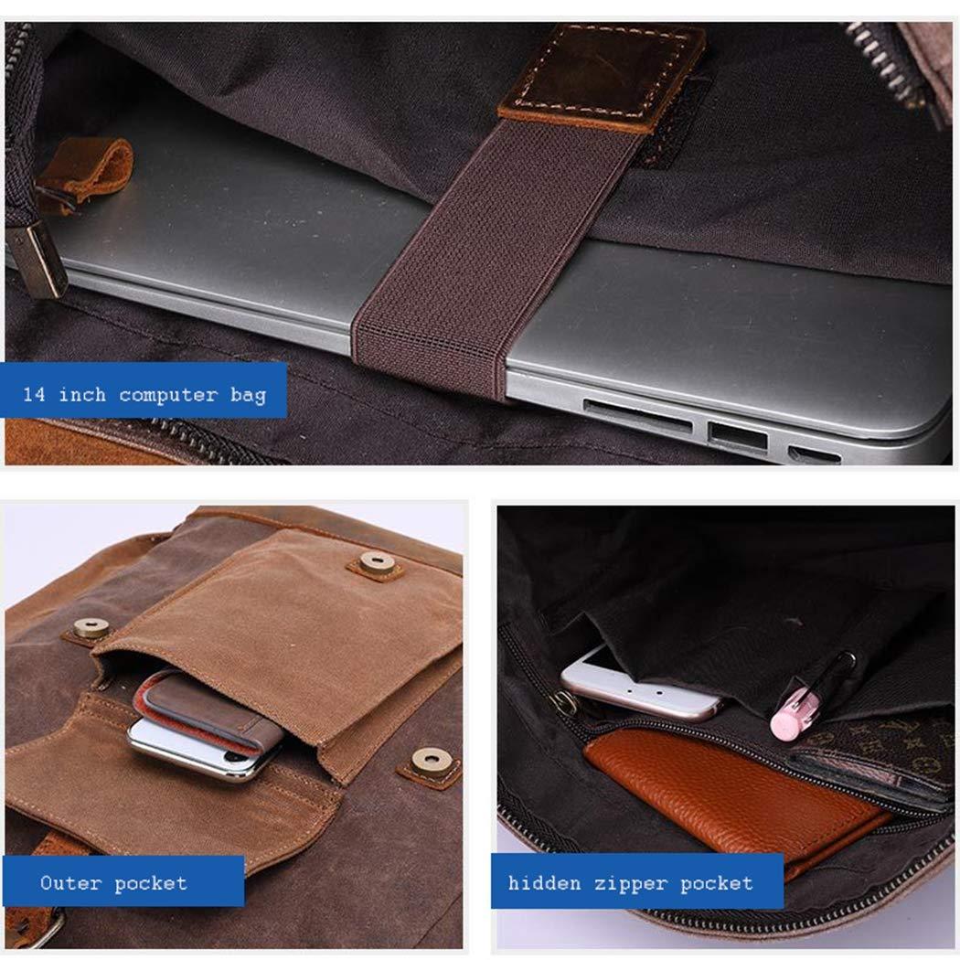 LXLX-väska axelväska retro laptopväska reseryggsäck Crazy Horse läderryggsäck Cyan