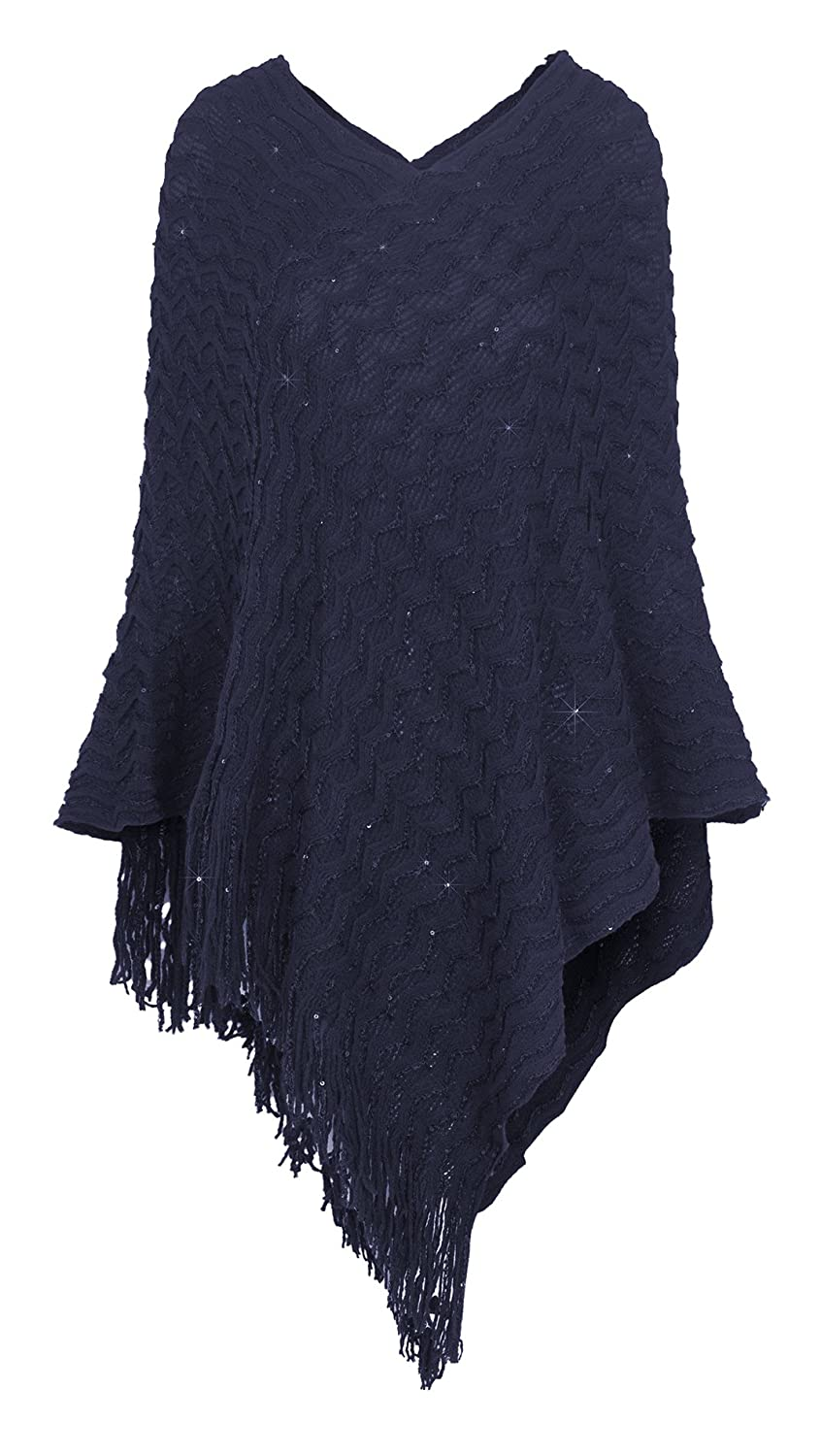Women's Asymmetric Fringe Knitted Pullover Cape Poncho Sweater