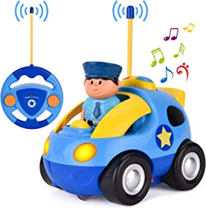Liberty Imports My First RC Cartoon Car Vehicle 2-Channel Remote Control Toy   Music, Lights & Sound for Baby, Toddlers, Kids (Police Car)