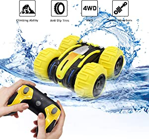 Seckton Gifts for 5-12 Year Old Boys Amphibious RC Car for Kids 4WD RC Truck RC Stunt Car Toy Waterproof 2.4 GHz Remote Controlled Vehicle Off Road Land Water Sand Beach Christmas Birthday Gifts