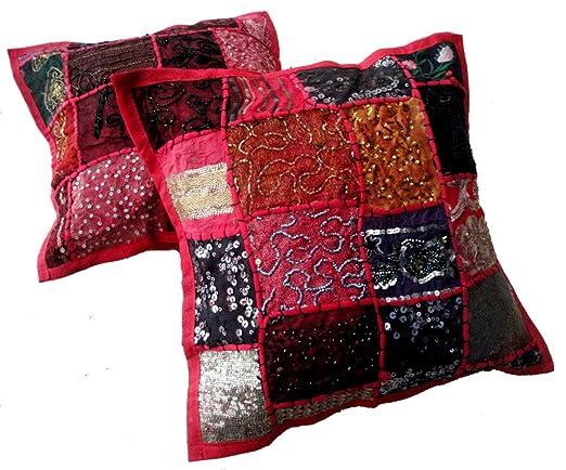 5 Color Rosa Bordado Lentejuelas Patchwork Indian Sari manta ...