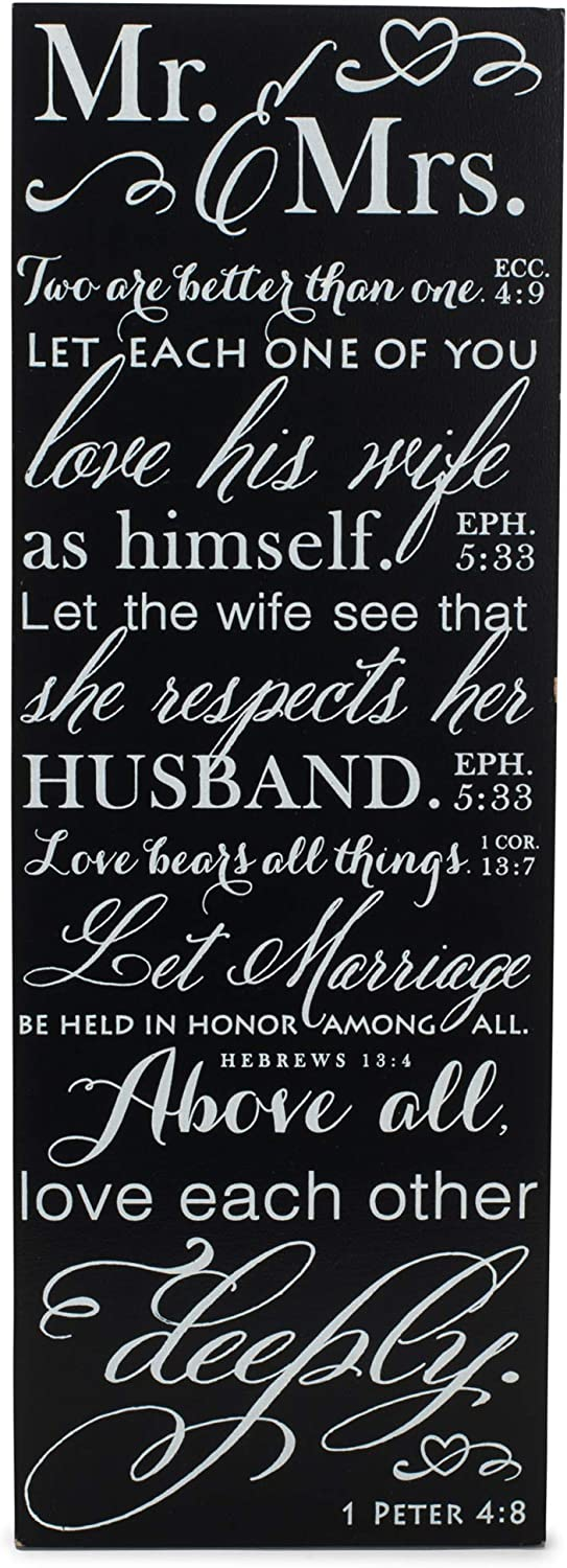 Dicksons Mr and Mrs Love Verses Black and White 5 x 14 Wood Wall Art Sign Plaque