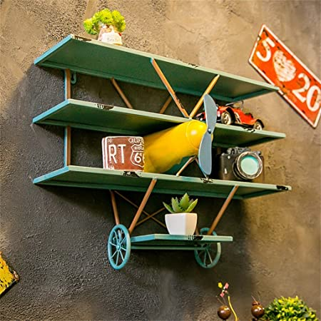 Retro Aircraft Model Wall Shelf Metal Iron Wood For Bar Living Room