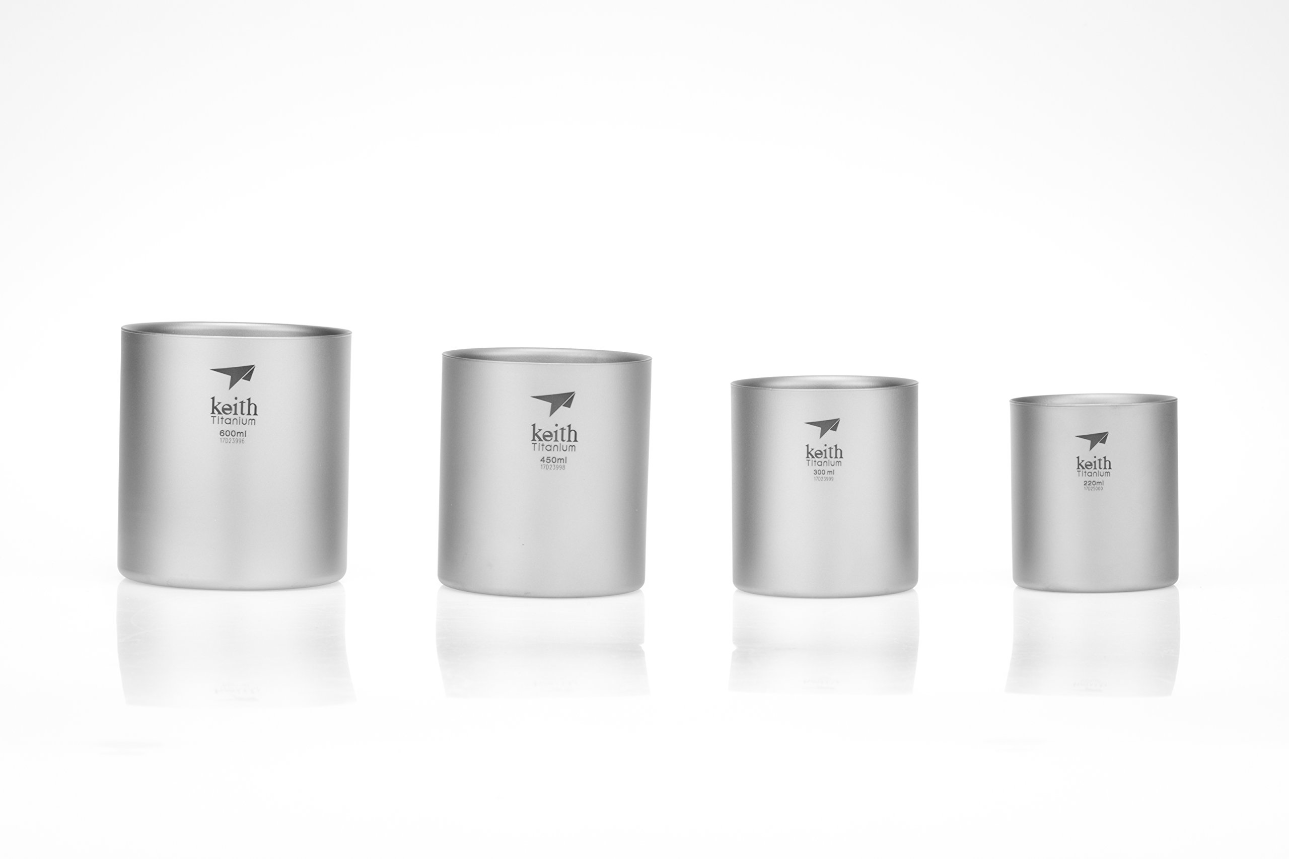 Keith Titanium Ti3501 Nesting 4-Piece Double-Wall Mug Set