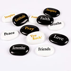 "ROCKIMPACT 100PCS Engraved Different Words Inspirational Glass Stones Pebble Marble Gems Aquarium Decor Vase Beads Zen Stones Gratitude Healing Encouragement Rocks Wholesale Bulk, 2"" Each"