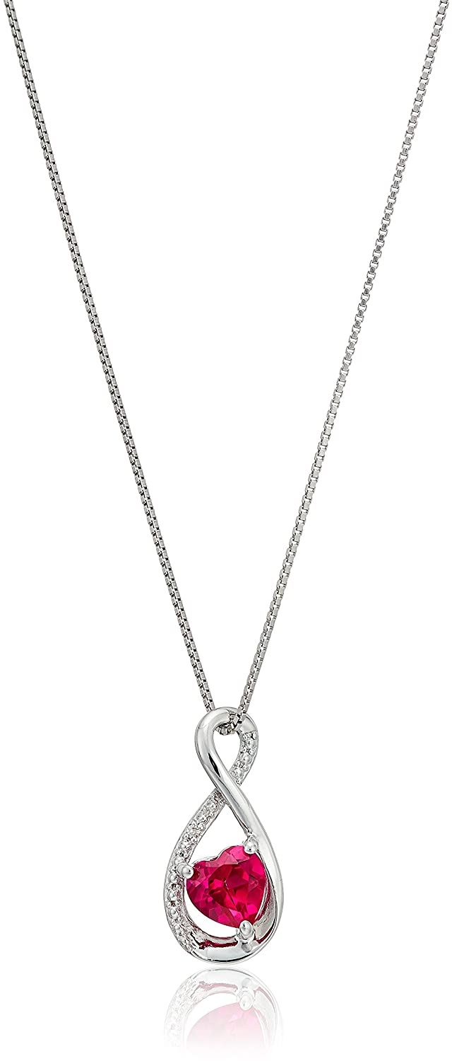 sterling silver heart lab-created ruby pendant with diamond pendant necklace 18