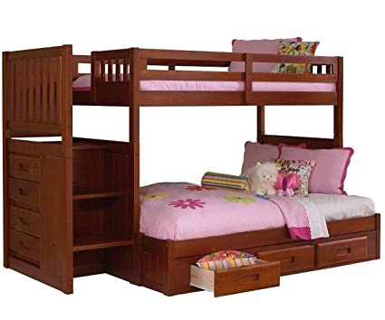 Amazon Com Merlot Twin Over Full Staircase Bunk Bed Kitchen Dining