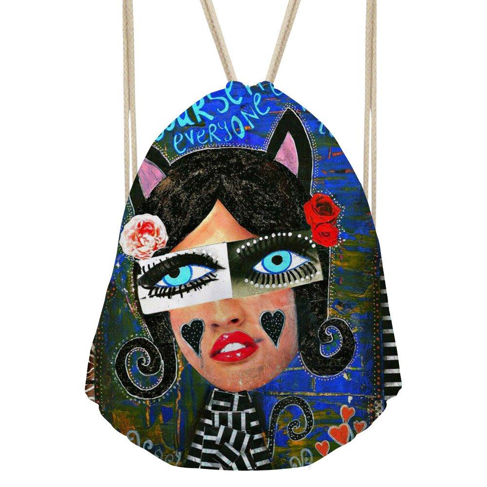 Yzanキャンバスパターン巾着バックパック旅行カジュアルトートバッグ軽量Cinchバッグ B07CK9MC79 Oil Painting -5 Oil Painting 5