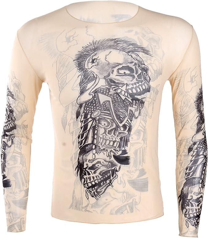 inlzdz Camiseta de Tatuaje Hombre Manga Larga Cuello Redondo Blusa Moderna Camisa Impresión 3D Transparente T-Shirt Verano Cosplay Clubwear Nude&Black A Talla Única: Amazon.es: Ropa y accesorios