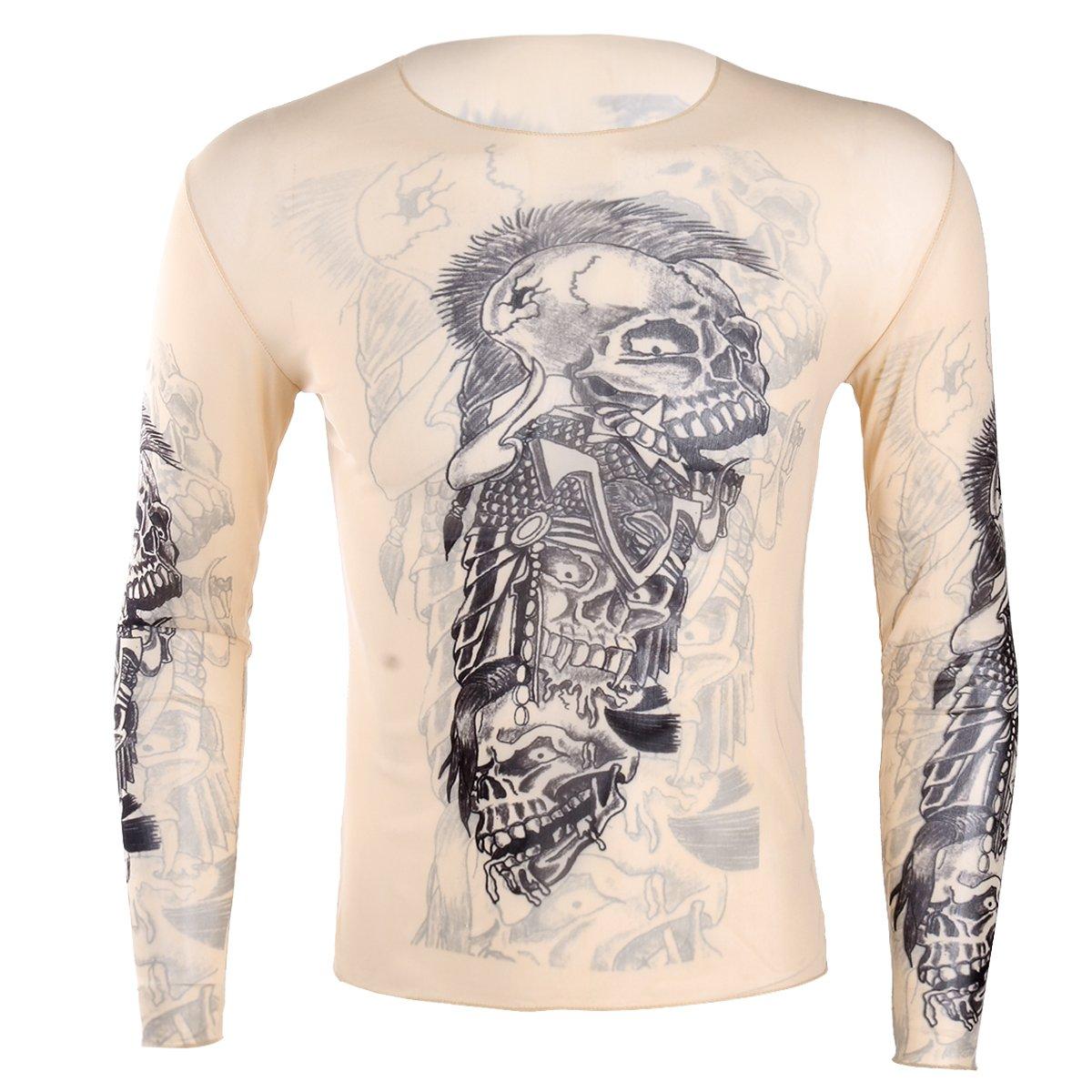 YiZYiF Maglietta da Uomo T-Shirt Trasparente a Manica Lunga Rete Slim Fit Stampata Tatuaggi Floreale Canotta Cosplay Sottile Traspirante Top Prospettiva Underwear Clubwear