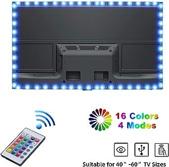 Tiras LED TV, Yizhet 2m Tiras de Luces TV LED USB Iluminación RGB 5050 Tiras de