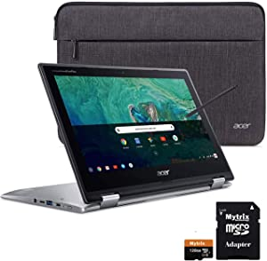 "Acer Chromebook Spin 11 2-in-1 Convertible Touchscreen Laptop 11.6"" HD IPS, Intel Celeron N3350, 4GB DDR4 RAM, 32GB eMMC w/ Mytirx 128GB SD Card, WiFi, Pen, Sleeve, 10 Hrs Battery"