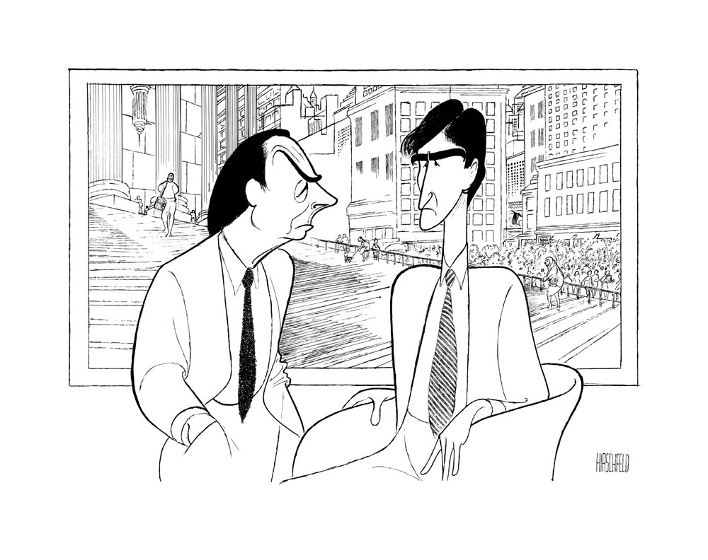 Hand Signed AL HIRSCHFELD, LAW & ORDER, with JERRY ORBACH and SAM WATERSTON, Limited-Edition Lithograph THE MARGO FEIDEN GALLERIES LTD. New York