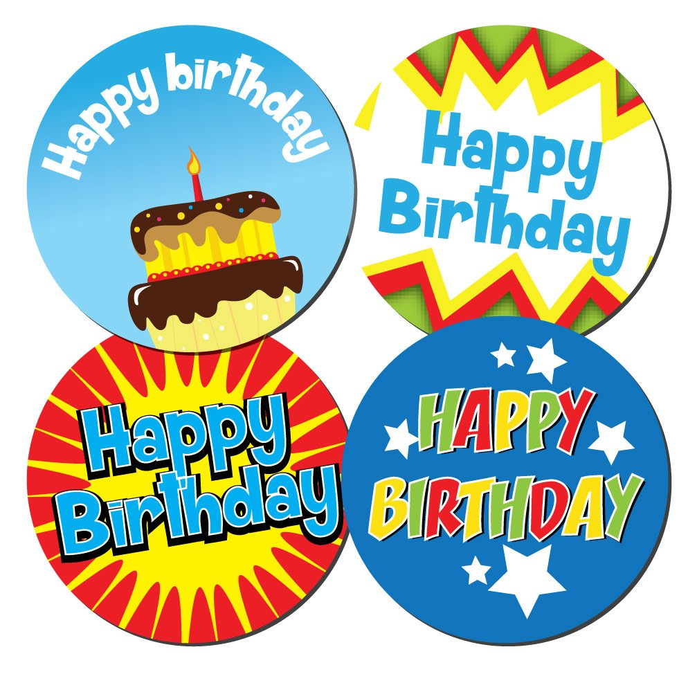 'Happy Birthday' Stickers - boys - 4 designs per pack, cards,shops, sweets - 30mm or 60mm diameter (30 mm (144 stickers)) StickerZone