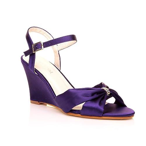9c5eb450810 Angel Purple Satin Wedge High Heel Strappy Bridal Shoes Size UK 3 EU 36