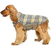 Wooce Cappotto scozzese reversibile per cani Autunno Inverno Caldo e accogliente gilet imbottito da cane stile inglese per cani di taglia piccola di media taglia Beige-M