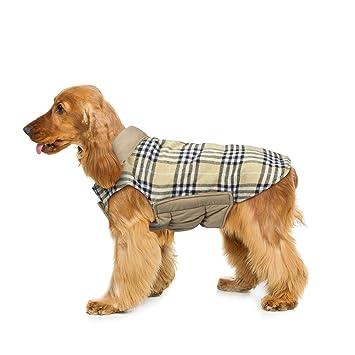 Wooce Abrigo de Tela Escocesa Reversible del otoño Abrigo de Invierno cálido y Acogedor Chaqueta Acolchada para Perros pequeños y medianos Beige-M: ...