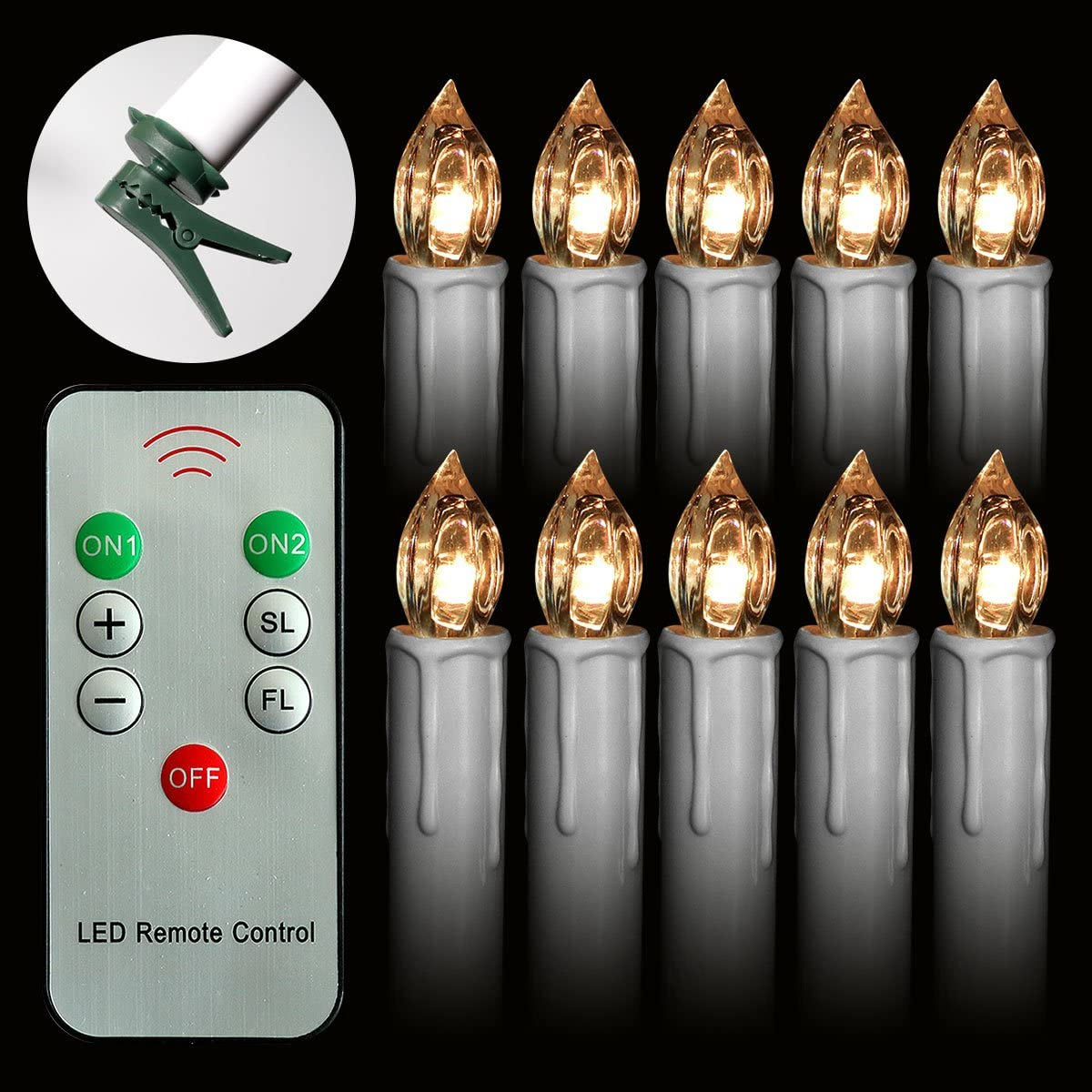 Set of 20 Warm White LED Taper Candles Lights with Remote Control Flameless Battery Operated Candles With Removeable Clips for Birthday Party Chandelier Christmas Thanksgiving Taper Candles Bulk