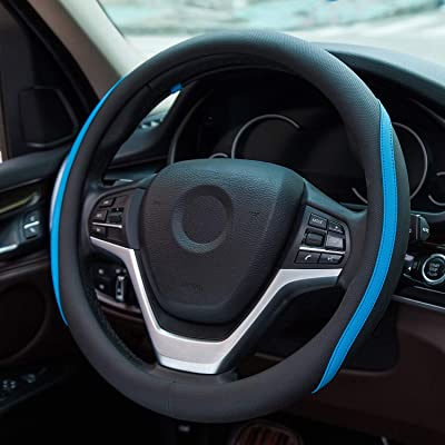 Achiou Universal 15 Inch Car Steering Wheel Cover, Fiber Leather Auto Breathable & No Smell(Black and Blue): Automotive