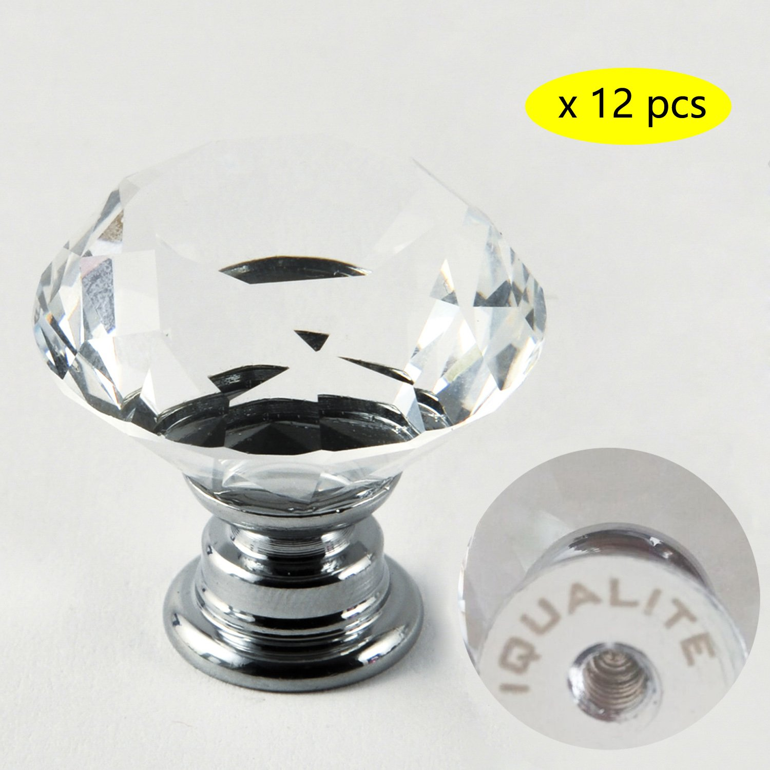 IQUALITE 12pcs Diamond Shape Crystal Glass 30mm Drawer Knob Pull Handle Usd for Caebinet, Drawer by IQUALITE