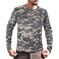 JJHAEVDY Men's Camouflage Crewneck Workout Performance T-Shirt Long Sleeve Outdoor Quick-Drying Athletic Tops