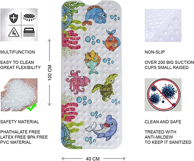 Magic Ideas rutschfeste Kinder Badewannenmatte  Schimmelresistent Handwaschbar