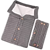 Tronet Newborn Unisex Infant Swaddle Blankets Soft Thick Fleece Knit Baby Girls Boys Stroller Wraps Accessory