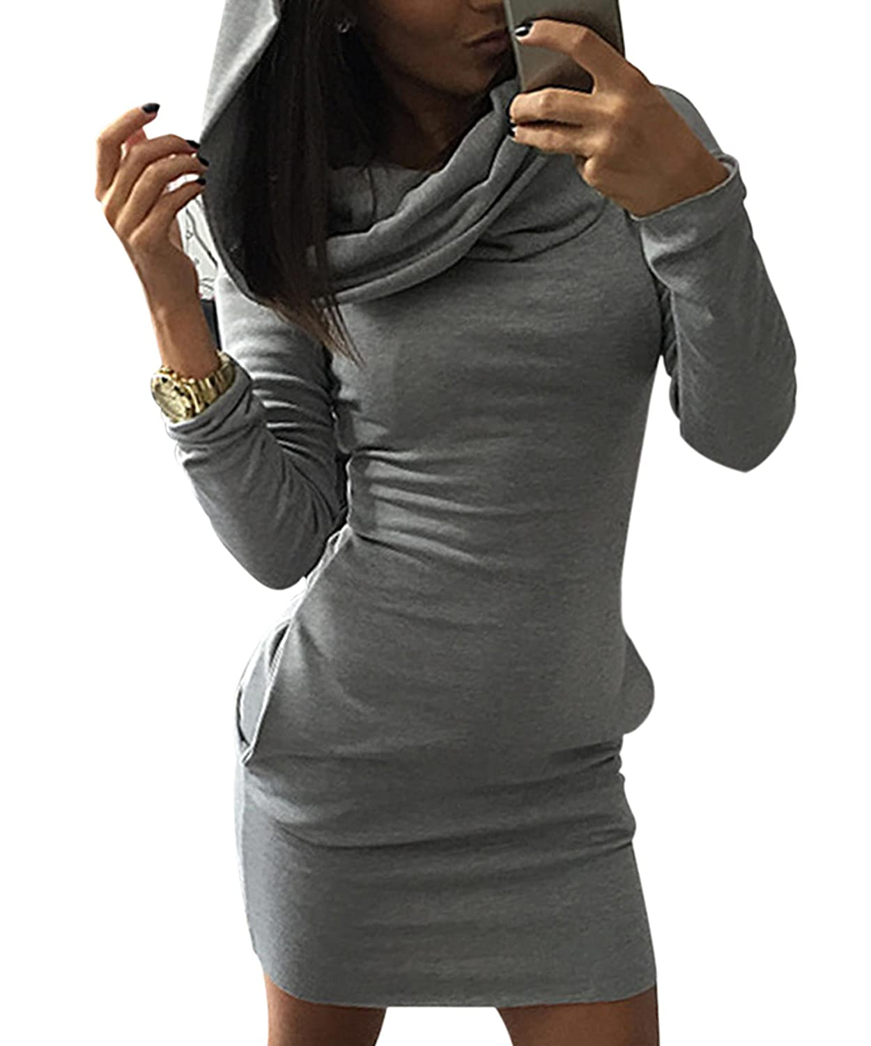 cooshional Damen Pullover Lang Hoodie Sweatshirt Kleid Herbst Bodycon Top:  Amazon.de: Bekleidung