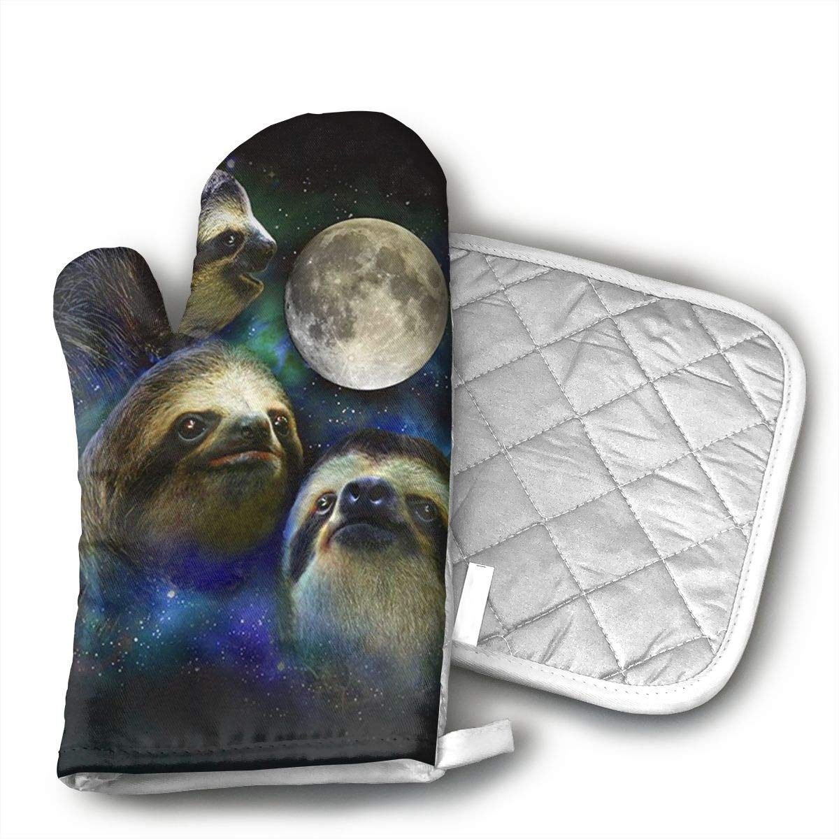 Three Moon Sloth Oven Mitts and Pot Holders Set with Polyester Cotton Non-Slip Grip, Heat Resistant, Oven Gloves for BBQ Cooking Baking, Grilling