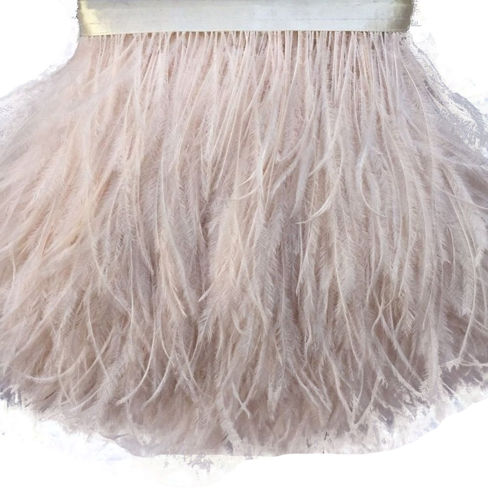 AABABUY 2 Yards Ostrich Feather Trim 4-6 Strip of Ostrich Feathers red