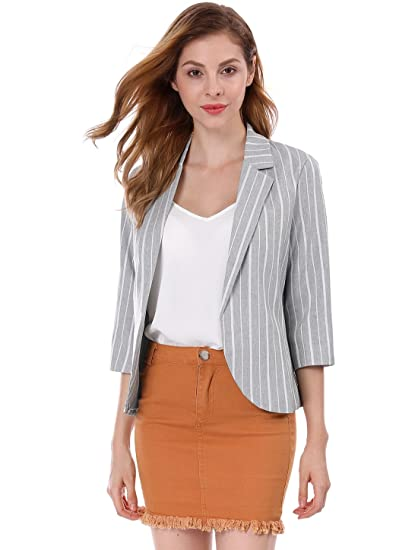 Allegra K Womens Striped 3/4 Sleeves Open Front Notched Lapel Blazer