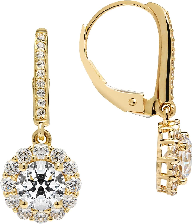 Pretty 14K Yellow Gold CZ Drop Dangle Leverback Earrings