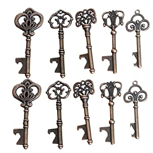 Yansanido Pack of 50 Skeleton Key Bottle Opener 5 styles mixed with Escort Tag Card and Twine for Wedding Favors for Guests Party Favors (mixed 5 styles)