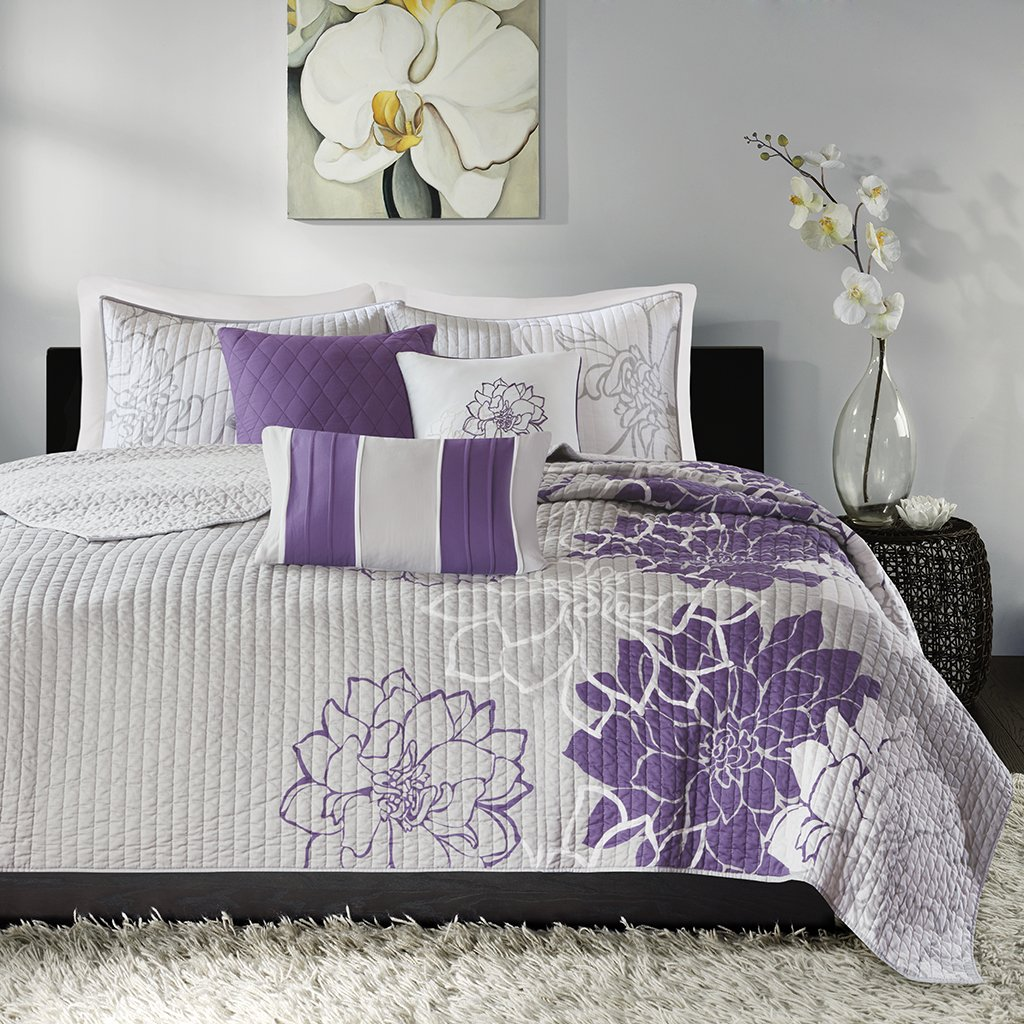 Madison Park Lola Full/Queen Size Quilt Bedding Set - Purple, Grey, Floral, Flowers – 6 Piece Bedding Quilt Coverlets – Cotton Sateen, Cotton Poly Crossweave Bed Quilts Quilted Coverlet