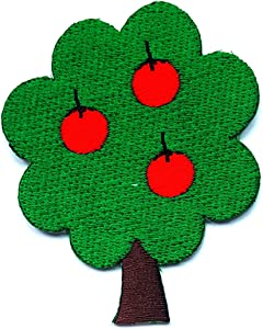 Apple Tree Fruit Wildlife Nature Forest Summer Cartoon Children Kid Patch Clothes Bag T-Shirt Jeans Biker Badge Applique Iron on/Sew On Patch