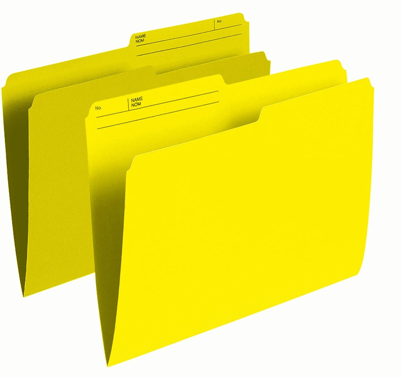 Pendaflex Colour File Folders, 1/2 Cut Tab, Letter, Yellow, 100/Box R415 YLW