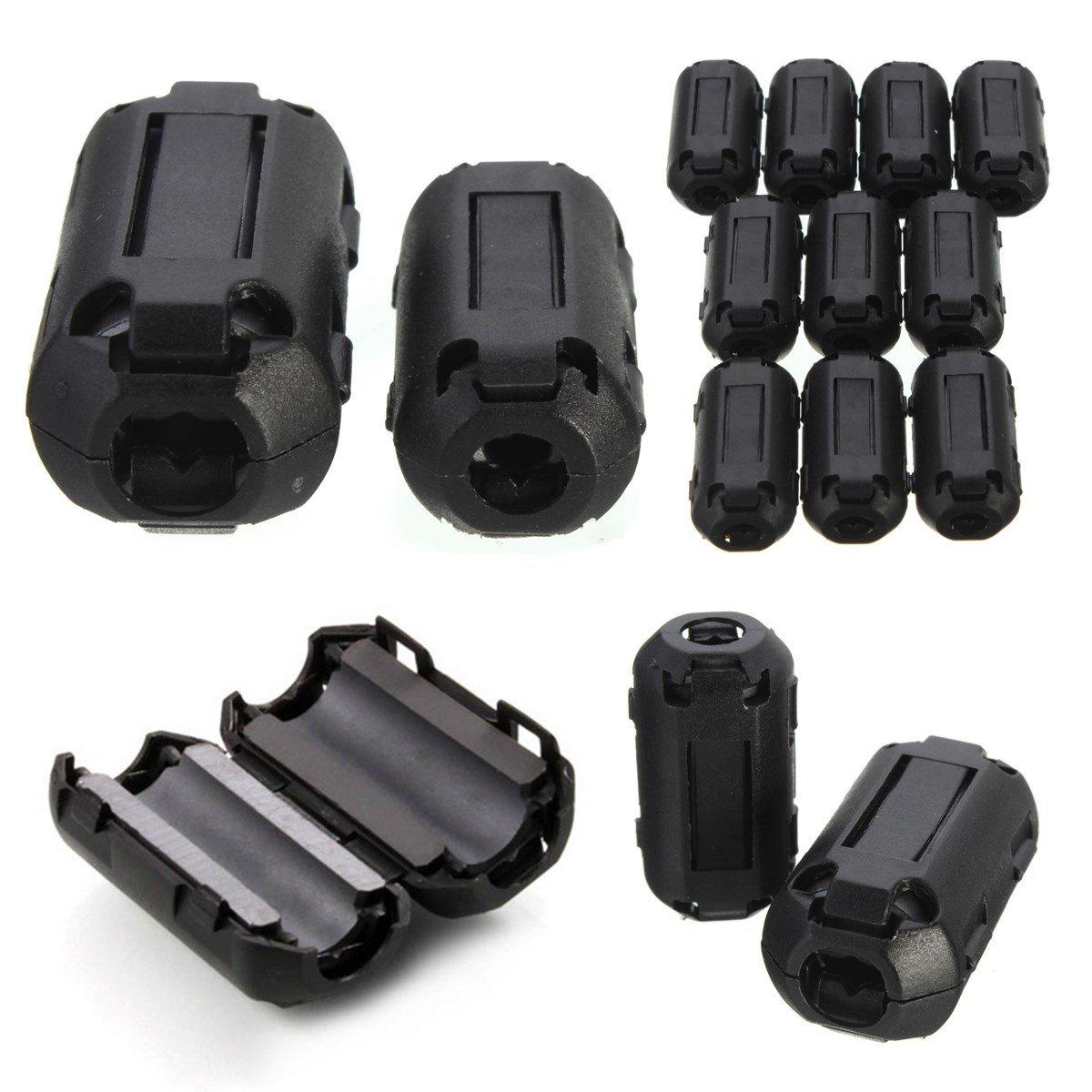 ZHENWOCAI 10Pcs Black EMI RFI Noise Ferrite Core Filter Cutting Noise on Cables 7mm New