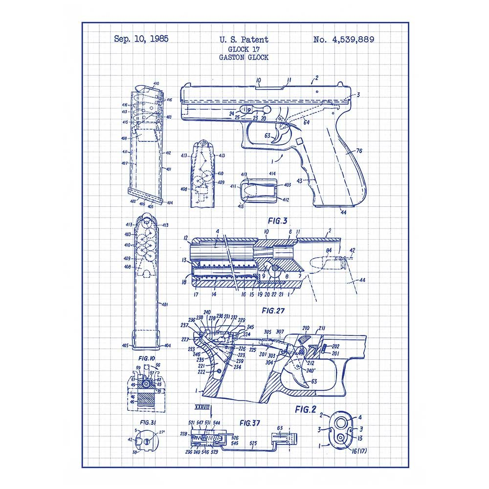 Inked and Screened Military and Weaponry Glock 17 Handgun - G  Glock -  1985