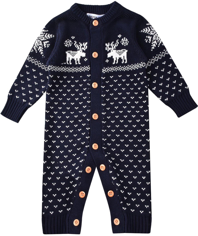 c96343a2e8e ZOEREA Unisex Newborn Baby Romper Long Sleeve Christmas Sweaters Coat  Knitted Sweatshirt Jumper Suit Deer YS2038