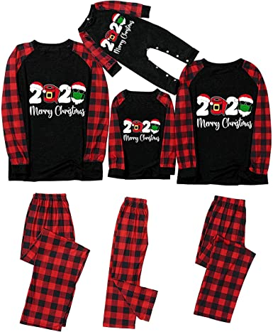 BingYELH Matching Family Christmas Pajamas Sets 2020 Christmas PJs Long Sleeve Tee and Pants Loungewear to Remember 2020