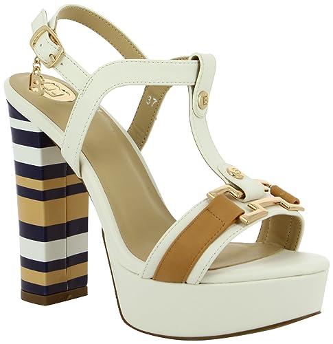 Zapatos blancos de punta abierta Laura Biagiotti para mujer UanXR0U7dM