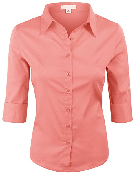 efd2e832b7f86d KOGMO Women's 3/4 Sleeve Basic Simple Button Down Blouse With  Stretch-S-Light_Coral at Amazon Women's Clothing store: