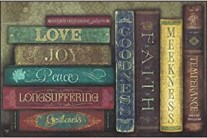 Dicksons Fruit of The Spirit Vintage Books Damask Pattern 12 x 18 Wood Wall Sign Plaque