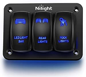 Nilight 3 Gang Aluminum Rocker Switch Panel 5 Pin ON/Off Pre-Wired Toggle Switch Panel With Rocker Switch Holder 12/24V for Marine Boat Car ATV UTV,2 Years Warranty